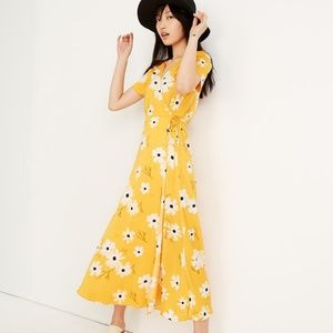 MADEWELL Puff-Sleeve Wrap Midi Dress